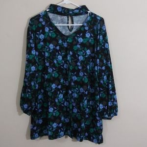 Attention Plus Floral Print  Blouse